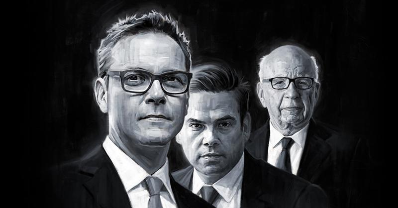 从左到右分别是四儿子詹姆斯、大儿子拉克兰和老默多克