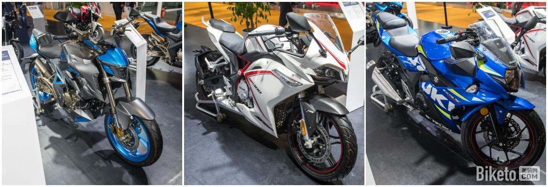本次上海展还兼办摩托车展,图一和图二是网红国产街车,灰色的是升仕310R,白色的是隆鑫无极300R,图三则为传统品牌豪爵铃木GSX250R