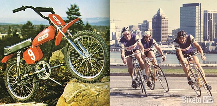 左图为NORCO在1973年面向加拿大市场推出的第一款全避震极限运动自行车,右图为1975年推出的10速公路车