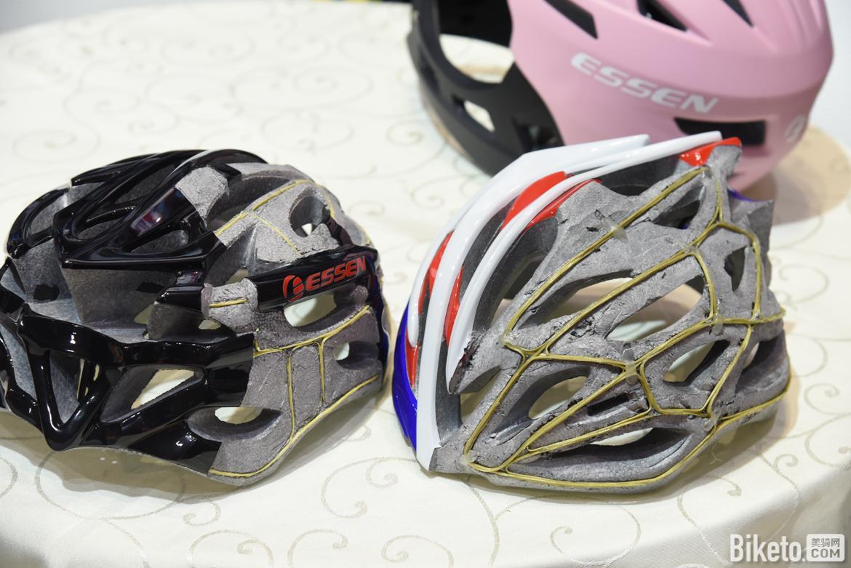 ESSEN特别解剖了两顶具有凯夫拉纤维龙骨的头盔作为展示,不过相较于外露明显的MIPS防护系统来说,在外观宣传方面稍显吃亏.jpg