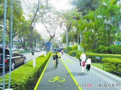 原有的环岛路自行车道