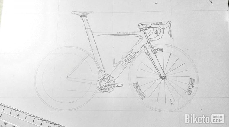 手绘自行车,铅笔画细节