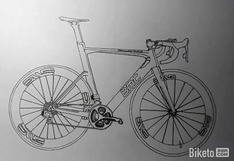 手绘自行车,马克笔