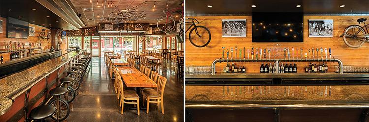像波特兰(美国俄勒冈西北部港市)、明尼阿波利斯(美国城市)、奥斯丁(美国德克萨斯州)等自行车大城,一般都会有一家以自行车为主题的酒吧或餐厅,同时这些酒吧(或餐厅)也会因为这座城市而出名(美骑小编:颇有一人得道鸡犬升天的意味)。当然了,并不是只有这些自行车大城才有主题店,今天就来细数一下那些隐藏在城市里别具一格的自行车酒吧餐馆。 The Handlebar Pub,纽约布法罗 作为主题酒吧,Handlebar Pub是这样描述他们的功能:是自行车爱好者的庇护所,为环法党、午夜党、通勤党等所有想要寻找一个既能