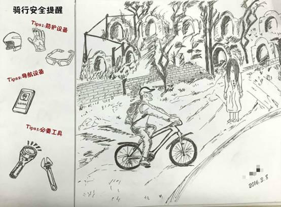 """""""骑行误入公墓""""手绘图"""