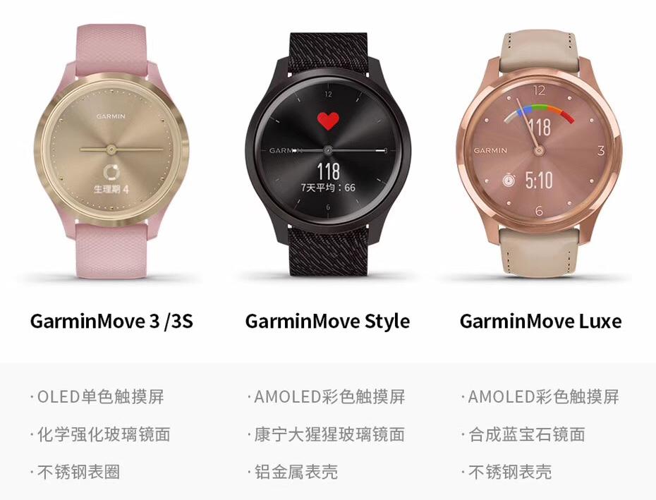 Garmin move系列新款指针式智能腕表