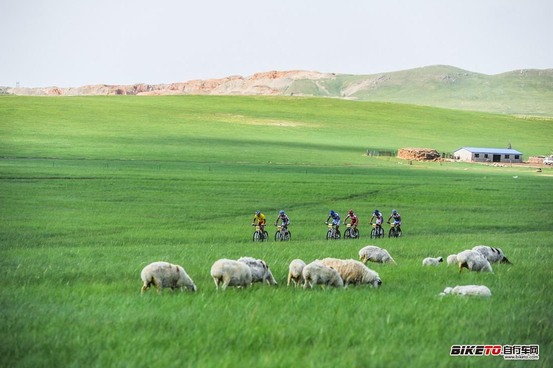 外蒙古车手和胡浩组成的领先集团