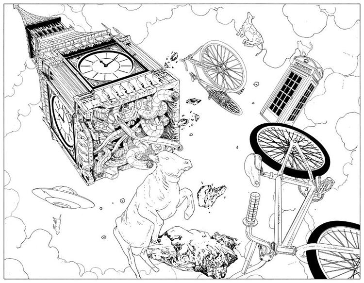 卡通古典钟手绘