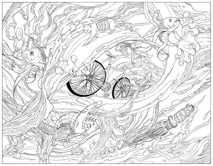 自行车工业设计手绘线稿