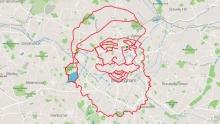 STRAVA骑车绘画新作:66公里的圣诞老人