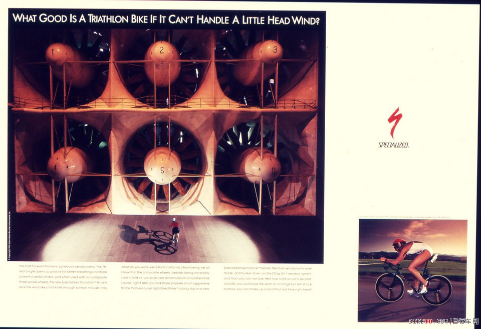 80年代末发布,Specialized发布的第一个空气动力性广告
