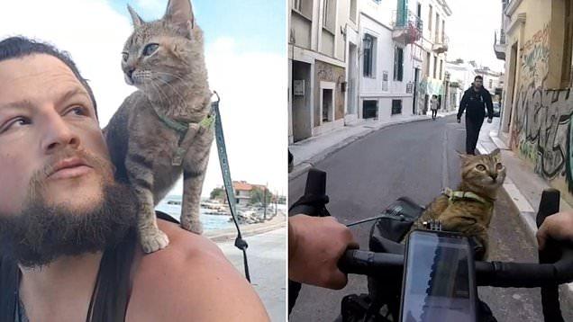 电焊工带流浪猫骑行欧洲*