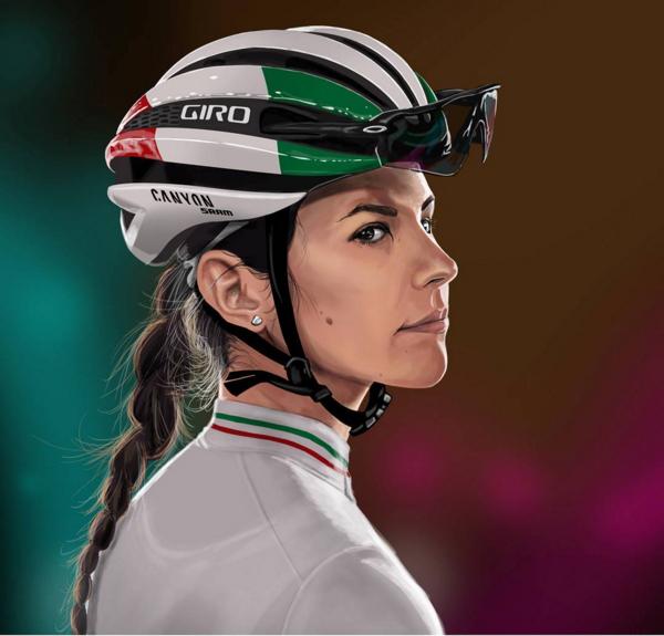 这位插画家的画风多变,与上一张使用了同样风格的还有现役于Canyon-Sram女子车队的Elena Cecchini