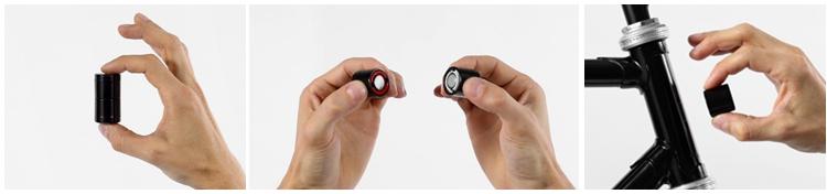 Lucetta车灯分两部分,靠磁力相吸,拆开吸附在自行车部件上,即会触发内置按钮、发出光亮.jpg