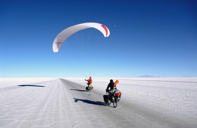 单车+滑翔伞